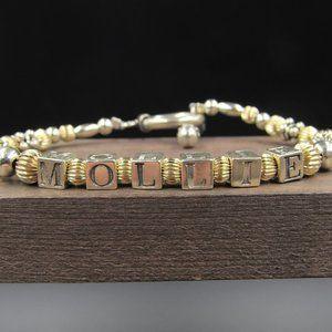 """7"""" Sterling Silver Mollie Name Bracelet Vintage"""